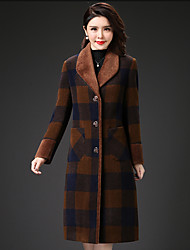 cheap -Women's Street chic Coat-Plaid,Oversized Shirt Collar