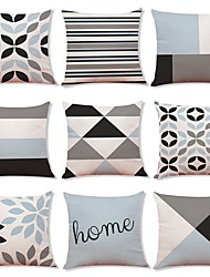cheap -9 pcs Linen Pillow Cover, Geometric Art Deco Plaid/Check