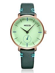 baratos -KEZZI Mulheres Quartzo Relógio de Pulso Japanês Relógio Casual PU Banda Casual Elegant Fashion Preta Branco Azul Vermelho Rosa