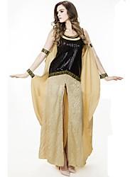 abordables -Vintage Antigua Grecia Disfraz Mujer Vestidos Baile de Máscaras Ropa de Fiesta Beige Cosecha Cosplay Algodón Sin Mangas Camisola Hasta el