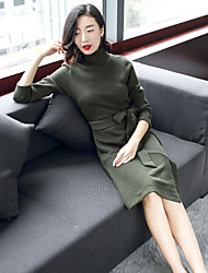cheap -Women's Going out Casual/Daily Street chic Sweater Dress,Solid Turtleneck Knee-length Long Sleeve Wool Polyester Winter Fall Medium Waist