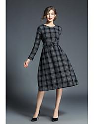 economico -Largo Vestito Da donna-Casual Per uscire Vintage Stoffe orientali Jacquard Rotonda Medio Maniche lunghe Misto lana Autunno A vita