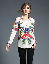 cheap -SHE IN SUN Women's Daily Going out Casual Fall Shirt,Floral Geometric Shirt Collar Long Sleeve Polyester Opaque