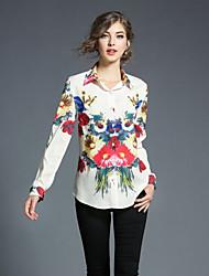 billige -Langt Ærme Krave Solid Damer Blomstret Geometrisk Efterår Afslappet Daglig I-byen-tøj Skjorte,Polyester