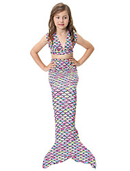 cheap -The Little Mermaid Swimwear Bikini Kid Christmas Masquerade Festival / Holiday Halloween Costumes Rainbow Rainbow