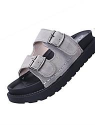 Women's Shoes PU Summer Comfort Light Soles Slippers & Flip-Flops Flat Heel Open Toe for Dress Black Gray Green