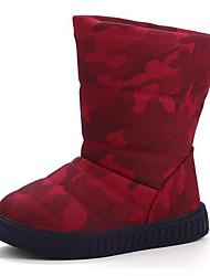Para Meninas sapatos Courino Inverno Outono Conforto Botas de Neve Botas Botas Cano Médio para Casual Preto Verde Tropa Vermelho Azul