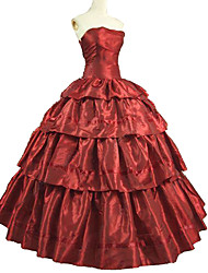 abordables -Boleros Victorien Rococo Costume Adulte Robes Bal Masqué Tenue Rouge Vintage Cosplay Taffetas Manches Courtes Gigot / Ballon Longueur