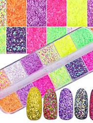Недорогие -1 комплект Роскошь Элегантный и роскошный Bling Bling Пайетки Порошок блеска Гель для ногтей Образец Дизайн ногтей Советы для ногтей