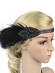 cheap -The Great Gatsby Flapper Headband 1920s White Black Brown Golden Feather Cosplay Accessories Masquerade