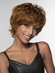 abordables -Pelo humano pelucas sin tapa Cabello humano Ondulado Natural Parte lateral Corta Hecho a Máquina Peluca Mujer
