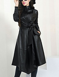 cheap -Women's Daily Casual Winter Fall Trench Coat,Solid Shirt Collar Long Sleeve Long Others