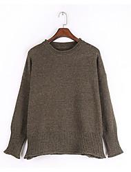 Dámské Jednoduchý Běžné/Denní Standardní Rolák Jednobarevné,Dlouhý rukáv Kulatý Polyester Zima Podzim Tlusté Vysoká pružnost
