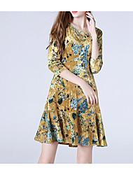 Feminino Bainha Vestido,Casual Simples Estampado Decote Redondo Altura dos Joelhos Manga Comprida Algodão Inverno Outono Cintura Média