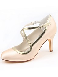 cheap -Women's Shoes Stretch Satin Spring Fall Basic Pump Wedding Shoes Stiletto Heel Round Toe Buckle for Party & Evening Dress Champagne