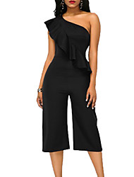 cheap -Women's Daily Going out Simple Vintage Sexy Solid One Shoulder JumpsuitsWide Leg Sleeveless Spring Summer Polyester