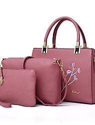 baratos -Mulher Bolsas Couro Ecológico Conjuntos de saco 3 Pcs Purse Set Bordado para Compras Casual Todas as Estações Preto Vermelho Rosa Cinzento