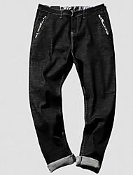 Pánské Roztomilý Šik ven Lehce elastické Džíny Kalhoty Mid Rise Polyester Jednobarevné Zima Podzim