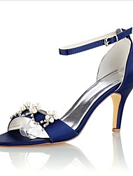 Недорогие -Жен. Обувь Стретч-сатин Лето Туфли лодочки Свадебная обувь На шпильке Открытый мыс Кристаллы Жемчуг для Для вечеринки / ужина Для