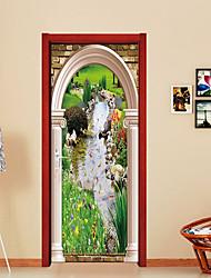 Недорогие -Пейзаж Цветочные мотивы/ботанический Наклейки Простые наклейки 3D наклейки Декоративные наклейки на стены Дверные наклейки, Бумага Винил