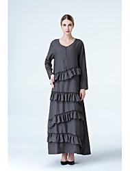 baratos -Mulheres Boho Solto Vestido Sólido Longo / Outono / Inverno
