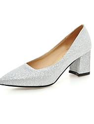 preiswerte -Damen Schuhe Kunstleder Winter Frühling Pumps High Heels Blockabsatz Spitze Zehe Schnalle für Normal Kleid Gold Schwarz Silber Rot