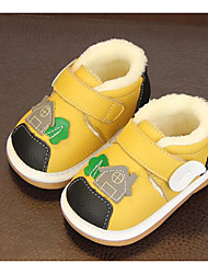 Baby Shoes Cowhide Winter Fall Comfort First Walkers Boots Walking Shoes Booties/Ankle Boots Magic Tape for Casual Yellow Beige Black