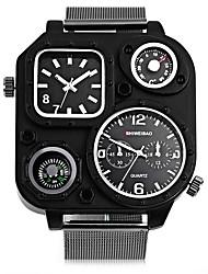 Недорогие -SHI WEI BAO Муж. Спортивные часы Модные часы Армейские часы Кварцевый Компас С двумя часовыми поясами Панк Нержавеющая сталь Группа Аналоговый На каждый день Черный - Белый Черный / Один год
