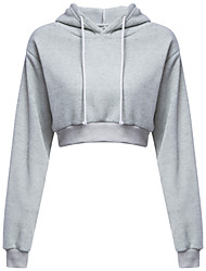 cheap -Women's Casual/Daily Hoodie Solid Hooded Micro-elastic Polyester Long Sleeve Winter Fall
