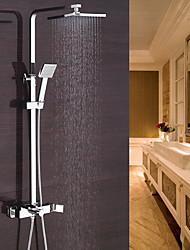abordables -Moderno Conjunto Central Alcachofa incluida Válvula Cerámica Sola manija Dos Agujeros Cromo , Grifo de ducha