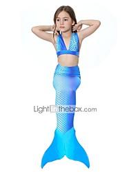 baratos -The Little Mermaid Bikini Roupa de Banho Crianças Natal Baile de Máscaras Festival / Celebração Trajes da Noite das Bruxas Azul Sólido
