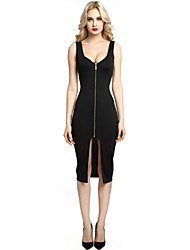 cheap -Women's Party Club Vintage Casual Sexy Bodycon Shift Sheath Dress,Solid U Neck Midi Sleeveless Rayon Polyester All Season Spring Mid Rise