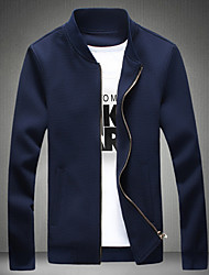 cheap -Men's Casual/Daily Vintage Fall Jacket,Solid Stand Long Sleeve Regular Polyester Pleated