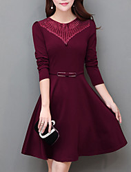 cheap -Women's Daily Street chic A Line Dress,Solid Round Neck Above Knee Long Sleeve Polyester Spring Fall Mid Rise Micro-elastic Opaque