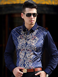 cheap -Men's Casual/Daily Vintage Shirt,Geometric Shirt Collar Long Sleeve Polyester