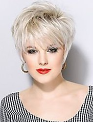 cheap -Women Human Hair Capless Wigs Beige Blonde//Bleach Blonde White Medium Auburn Natural Black Short Natural Wave Pixie Cut With Bangs