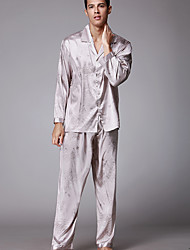 Homens Conjunto Pijamas Floral Poliéster Camel Cinzento