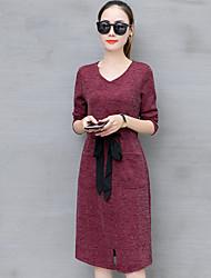 Damer Simple I-byen-tøj Skede Kjole Ensfarvet,Rund hals Knælang Langt Ærme Bomuld Polyester Efterår Høj Talje Uelastisk Solid