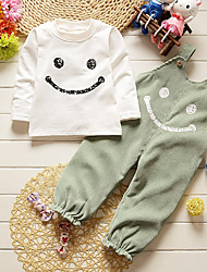 cheap -Girls' Striped Clothing Set, Cotton All Seasons Long Sleeves Simple Cute Street chic Green Gray Wine