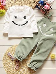 Girls' Striped Clothing Set,Cotton All Seasons Long Sleeve Simple Cute Street chic Green Gray Wine