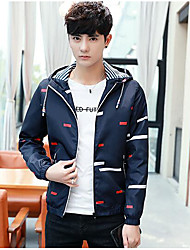 cheap -Men's Daily Casual Winter Fall Short Jacket,Color Block Hooded Polyester