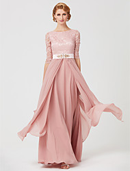 cheap -A-Line Jewel Neck Ankle Length Chiffon Lace Mother of the Bride Dress with Beading Sash / Ribbon by LAN TING BRIDE®