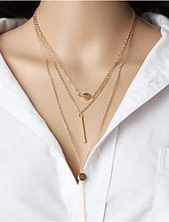baratos -Mulheres Gargantilhas colares em camadas  -  Casual Étnico Forma Geométrica Dourado Prata Colar Para Diário Para Noite Rua