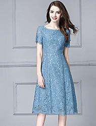 Недорогие -Жен. Большие размеры На выход Оболочка Платье - Однотонный До колена Синий