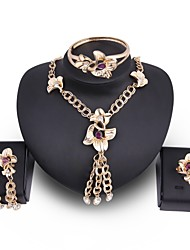 cheap -Women's Jewelry Set Oversized Statement Jewelry Wedding Party Zircon Gold Plated Alloy Flower 1 Necklace 1 Bracelet 1 Ring Earrings