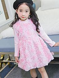 abordables -Vestido Chica de Diario Festivos Un Color Floral Flor Pelo de Conejo Algodón Poliéster Manga Larga Invierno Otoño Bonito Activo Princesa