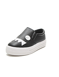 cheap -Women's Shoes PU Spring Fall Comfort Flats Flat Heel Round Toe for Casual White Black