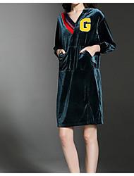 Dámské Aktivní Běžné/Denní Volné Šaty Jednobarevné,Dlouhé rukávy Do V Délka ke kolenům Polyester Podzim Mid Rise Neelastické Neprůhledné