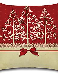 cheap -1 Pcs Christmas Bowknot Christmas Trees Pillow Cover 45*45Cm Sofa Cushion Cover Cotton/Linen Pillow Case