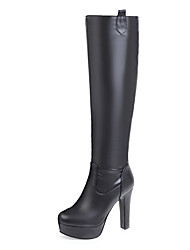 cheap -Women's Shoes PU Leatherette Winter Fall Fashion Boots Boots Stiletto Heel Round Toe Knee High Boots Mid-Calf Boots Over The Knee Boots